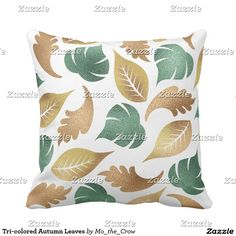Tri-colored Autumn Leaves Throw Pillow