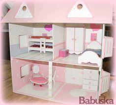Casa de barbie en madera pintada decorada y laqueada a - Casa de barbie ...