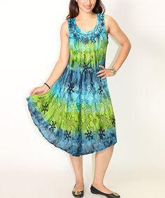 Turquoise & Green Floral Tie-Dye Sleeveless Dress  #zulilyfinds