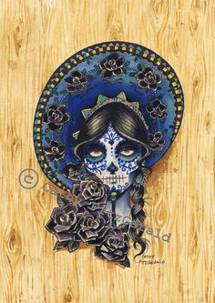 Dia De Los Muertos Girl n Roses Tattoo Design