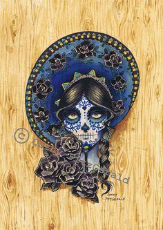 A3 Sombrero Day of the Dead Sugar Skull Catrina la calavera - cardstock art print. $22.00, via Etsy.