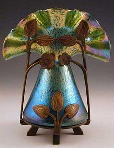 Loetz  Irridescent glass vase with bronze floral Art Nouveau mount  Austria  c.1905 by nancy