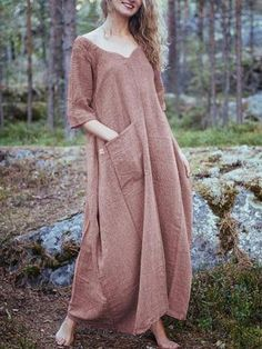 Plus Size Casual V-neck Half Sleeve Backless Maxi Dress - Banggood Mobile Backless Maxi Dresses, Maxi Robes, Sleeveless Dresses, Boho Outfits, Fashion Outfits, Womens Fashion, Suspender Dress, Plus Size Casual, Half Sleeves