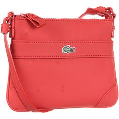 lacoste flat crossbody in molten lave red