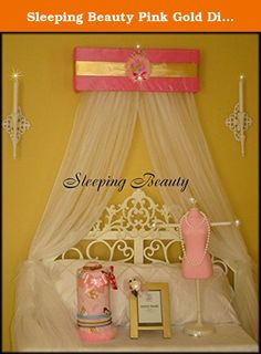 "Sleeping Beauty Pink Gold Disney Princess Bed Canopy for Crib Nursery Bedroom So Zoey Boutique Free curtains included. Any Princess would love to sleep in Royal comfort under this custom made canopy. What a dreamy way for her ""Highness"" to get her beauty rest!! This is a gorgeous AND affordable addition to any nursery or room decor. PLAIN WHITE curtain sheers 98"" x 220"" are included!!!! *24"" wide x 7.5"" tall x 6"" deep. *100% Polyester no wrinkles PLAIN WHITE sheer curtains included...."