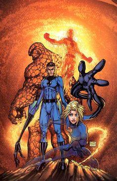 Fantastic Four, by Comic Artist Michael Turner Comic Book Artists, Comic Book Characters, Comic Book Heroes, Comic Artist, Marvel Characters, Comic Books Art, Marvel Dc Comics, Hq Marvel, Marvel Heroes