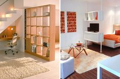 Live in a small space? Use storage pieces like shelving units as room dividers to break up your pad.