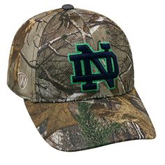 buy popular bebf5 c53d1 Amazon.com   TOW NCAA Notre Dame Fighting Irish College Realtree Extra  Memory Foam Fitted Hat   Cap   Sports   Outdoors