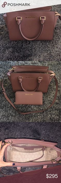 Michael Michael Kors Selma medium cross body bag Gorgeous crossbody that is sold out in stores. This classic little gem is made of sturdy saffiano leather. I have only carried it a handful of times and I am so incredibly careful with my purses there is not one dent or scratch on this purse. There is a tiny little mark on the interior lining. See picture. Smells like new leather. Leather is not cracked or peeling anywhere. Beautiful cameo pink (Dusty Rose) color. Perfect for Fall. Purchased…