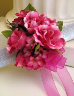 Wrist corsage hot pink fuchsia rose by BrideinBloomWeddings,