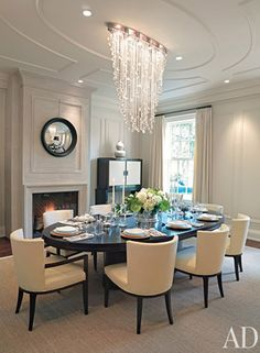take note of the chandelier...can be done with shells and lights. Dining room inspiration