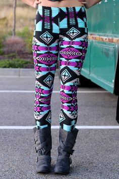 Mint Spearhead Indian Print Leggings, so very pretty, and off center. looks really cool ! Patterned Leggings, Cute Leggings, Best Leggings, Printed Leggings, Coloured Leggings, Tribal Leggings, Black Leggings, Colorful Leggings, Pretty Outfits