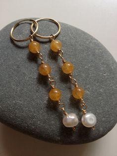 Yellow Jade  Beads  & Freshwater Pearl Earrings  by FMBdesigns, $75.00