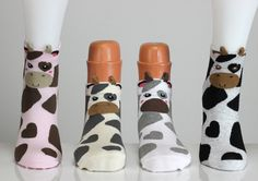 Cow Socks Spotted Cow  Colorful 3D Socks Casual Socks Cute Socks Girls Socks Women Socks Funny Socks Ankle Socks Animal Socks Cute Fun Socks (10.50 USD) by echerpe