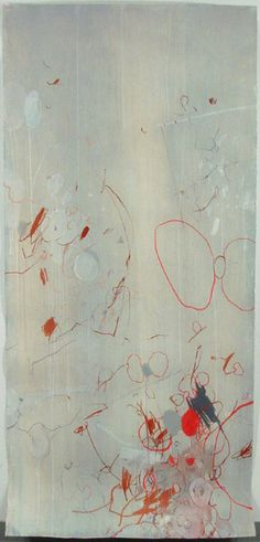 "Interlocking circles, colour use  Dragana Crnjak, Flies, Mixed media on paper, 90"" x 42"", 2004."