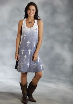 Roper® Blue Cross Print Sleeveless Western Tank Dress