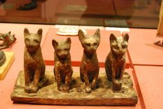Cats from ancient Egypt. Four seated cats, made of wood. Late Period. N 3910 (Quatre chatis assis) Louvre Museum | Flickr - Photo Sharing!