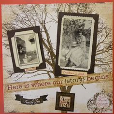 A Step Back in Time ~ lovely 'through the years' page with a great tree background.
