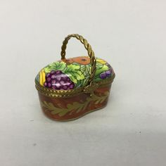 Limoges Marque Deposee Peint Main Miniature Trinket Box Fruit & Veggie Basket