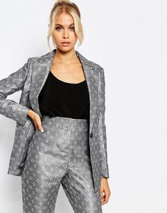 Image 1 ofFashion Union Suit Jacket In Tile Print Co-Ord