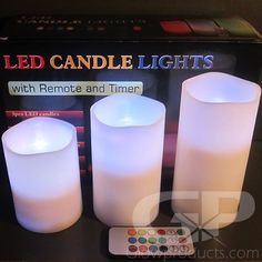 Light Up LED Flameless Candle Set - 3 LED Candles with Remote and Multiple Color and Light Modes Led Candle Lights, Church Events, Candle Set, Light Up, 3 Piece, Remote, Glow, Wedding Ideas, Wedding Decor