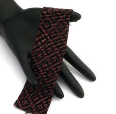Square Stitch Beaded Bracelet, Little Diamonds, Matte Black on Metallic Dark Raspberry Beaded Jewelry, Beaded Bracelets, Black Square, Antique Gold, Matte Black, Paths, Raspberry, Beading, Diamonds