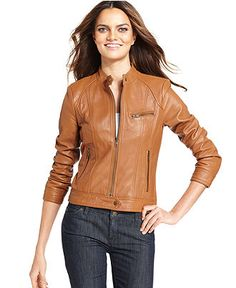 Kenneth Cole Reaction Jacket, Band-Collar Leather Motorcycle - Jackets & Blazers - Women - Macy's