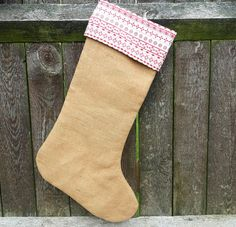 Christmas Holiday Stocking in Biscuit Color Burlap by HomeDecorLab