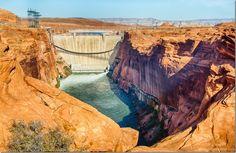 DSC_8124 2-tube water release Glen Canyon Dam overlook Page AZ