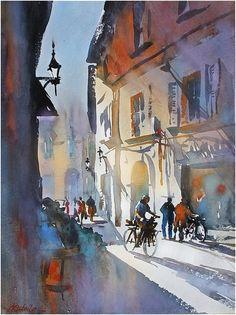Cycling in Pisa, Thomas Schaller Watercolor City, Watercolor Sketch, Watercolor Artists, Watercolor Landscape, Watercolor Paintings, Watercolors, Watercolor Portraits, Abstract Paintings, Watercolor Flowers
