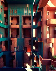 Housing Balcony Interior Structure Walden 7 in Sant Just Desvern, Spain - Ricardo Bofill, Taller de Arquitectura Colour Architecture, Contemporary Architecture, Architecture Details, Gaudi, Hostels, Ricardo Bofill, Wooden Building Blocks, Modern City, House