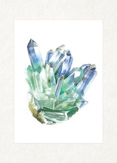 Fluorite with Amethyst 1   5 x 7 Watercolor Art by songdancedesign
