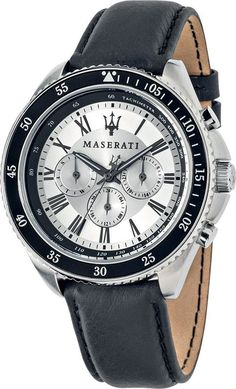 Maserati R8851101007 Men's Watch Multifunction Silver Dial Black Leather Strap GMT