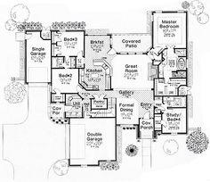 European Style House Plan - 4 Beds 3 Baths 2659 Sq/Ft Plan #310-267 Floor Plan - Main Floor Plan - Houseplans.com