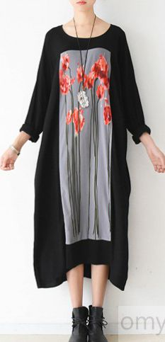 LOVE FLOWER ART PLUS SIZE COTTON DRESSES BLACK CAUSAL OVERSIZE CAFTANS LOOSE CLOTHING