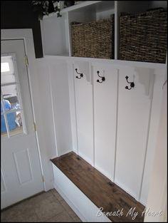 Mud room idea-reclaimed wood bench