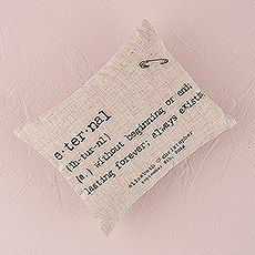 Natural Linen Ring Pillow with Vintage Type