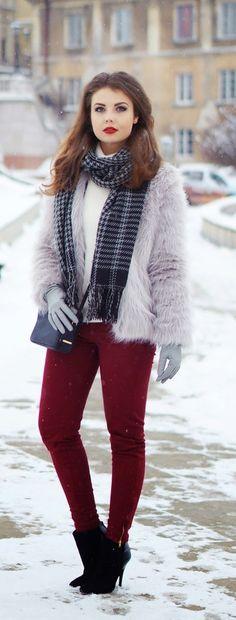 Faux Grey Furry Skirt   Houndstooth Scarf / Best LoLus Street Fashion