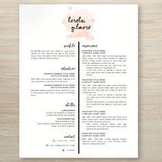 Lorelai Gilmore from Gilmore Girls inspired watercolor resume #gilmoregirls #resume #creative