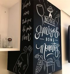 Timestamps DIY night light DIY colorful garland Cool epoxy resin projects Creative and easy crafts Plastic straw reusing ------. Chalkboard Fonts, Chalkboard Designs, Lettering Tutorial, Chalk Wall, Chalk Lettering, Kitchen Room Design, Bar Interior, Posca, Decoration