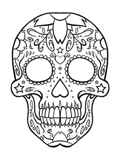 Day of the Dead Coloring Pages Printable. Do you like fearsome or dreadful coloring pages? If you do, you can try to get the day of the dead coloring pages. Painting Templates, Stencil Templates, Stencil Patterns, Templates Printable Free, Printable Stencils, Printable Masks, Quilt Patterns, Skull Coloring Pages, Animal Coloring Pages