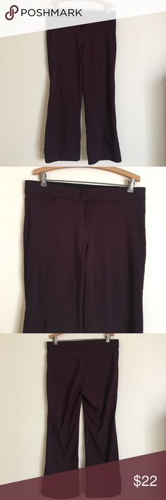 "Brigg NY 14P plum straight leg trousers zip front Classic Brigg New York brand plum colored straight leg trousers with zip front and invisible clasp and hidden flat elastic waist band for stretch and shape. Fabric is 76% rayon, 21% nylon, 3% spandex. Care instructions: machine wash cold with like colors line dry. Dimensions taken while garment is laying flat: 34-40"" at top, 38"" hips, 10"" rise, 29"" inseam, 10"" wide at bottom. Brigg New York Pants Trousers"