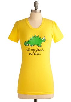 AWWWW!!!!!  Cry-ceratops Tee in Yellow | Mod Retro Vintage Short Sleeve Shirts | ModCloth.com