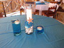 CBC107 Riviera Maya weddings / Bodascentro de mesa  de playa azul / blue  beach centerpiece