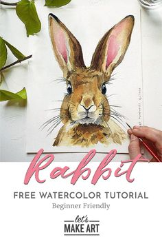 Bring Spring to life with this sweet watercolor Rabbit kit and tutorial. This project is perfect for practicing your fur textures and fine details. You just might decide to keep him up year round. Watercolor Postcard, Watercolor Art Diy, Watercolor Art Lessons, Watercolor Painting Techniques, Watercolor Projects, Watercolour Tutorials, Watercolor Animals, Watercolor Paintings, Watercolors