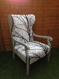 Wing back armchair reupholstered birch tree bedroom chair