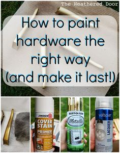 A while back, maybe 2 years ago, I painted a dresser and chose to keep the original hardware. It went from a gold to an oil rubbed bronze, but I didn't know what I was doing, and it was obvio… # Diy Upcycling mobel Furniture Projects, Furniture Makeover, Diy Projects, Furniture Repair, Furniture Refinishing, Furniture Stores, Furniture Design, Garden Furniture, Spray Paint Projects