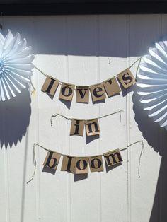 Love in bloom banner. Garden wedding shower.