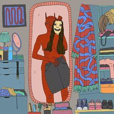 10+ Honest Illustrations Of Modern Women And Their Demons By Polly Nor (NSFW)
