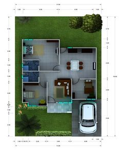 Dapatkan Desain Rumah Mungil Minimalis Modern... Building A Small House, Small House Floor Plans, Dream House Plans, Modern House Plans, Exterior Design, Interior And Exterior, Modern Small House Design, Home Design Plans, Architect Design